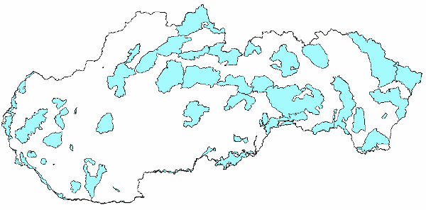 Map of Important Bird Areas in Slovakia